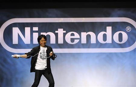 Shigeru Miyamoto, Senior Managing Director and General Manager of Entertainment Analysis & Developement Division, Nintendo Co., Ltd., gives a demonstration during Nintendo's E3 presentation at the E3 Media & Business Summit in Los Angeles June 15, 2010. REUTERS/Phil McCarten