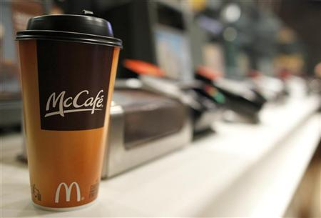 A cup of coffee is seen on a counter at a McDonald's restaurant in New York April 19, 2011.  REUTERS/Brendan McDermid