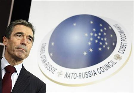 NATO Secretary-General Anders Fogh Rasmussen holds a news conference after a NATO-Russia foreign ministers meeting at the Alliance headquarters in Brussels December 8, 2011. REUTERS/Sebastien Pirlet