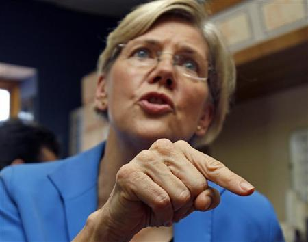 Elizabeth Warren speaks with voters as she campaigns after announcing her candidacy for the U.S. Senate in Framingham, Massachusetts, September 14, 2011.   REUTERS/Adam Hunger