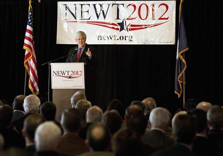 Newt Gingrich speaks at a forum for local business leaders at the Pacific Gateway Capital Group in Greenville, South Carolina December 8, 2011. REUTERS/Chris Keane