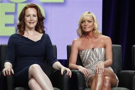 Actresses Katie Finneran (L) and Jaime Pressly, stars of new comedy series 'I Hate My Teenage Daughter', speak during a panel session at the FOX Summer TCA Press Tour in Beverly Hills, California August 5, 2011.  REUTERS/Fred Prouser