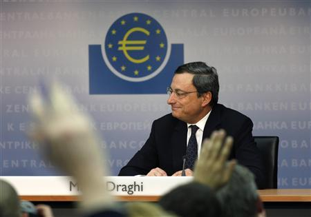 European Central Bank President Mario Draghi speaks during the monthly news conference in Frankfurt, December 8, 2011. REUTERS/Ralph Orlowski