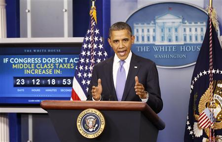 President Barack Obama speaks on the extension of the payroll tax cut and of the Republican obstruction of Richard Cordray's nomination to head the Consumer Financial Protection Bureau (CFPB) in the briefing room of the White House in Washington December 8, 2011.   REUTERS/Kevin Lamarque