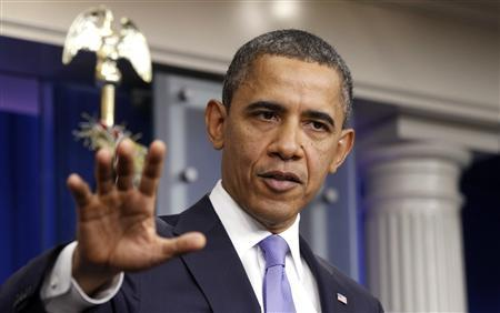 President Barack Obama speaks on the extension of the payroll tax cut and the Republican obstruction of Richard Cordray's nomination to head the Consumer Financial Protection Bureau (CFPB) in the briefing room of the White House in Washington December 8, 2011.   REUTERS/Kevin Lamarque