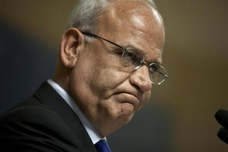 Saeb Erekat, the Palestinian Authority's chief negotiator, speaks at a Institute for National Security Studies (INSS) forum in Tel Aviv November 2, 2011.  REUTERS/Nir Elias