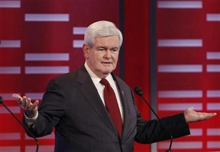 Republican presidential candidate former U.S. House Speaker Newt Gingrich (R-GA) makes a point during the Republican Party presidential candidates debate at Drake University in Des Moines, Iowa, December 10, 2011. REUTERS/Jeff Haynes