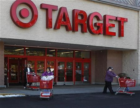 Shoppers exit a Target store with their purchases in Fairfax, Virginia, February 4, 2010. REUTERS/Stelios Varias