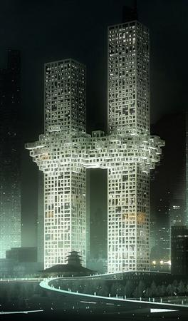 A computer illustration photo released by Yonhap in Seoul on December 11, 2011, shows twin apartment buildings designed by a Dutch architectural firm.    REUTERS/Yonhap