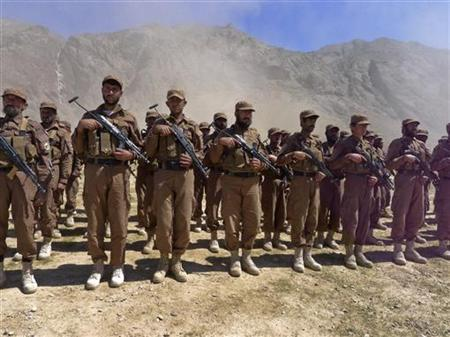 Uniformed Afghan Local Police (ALP) line up for the first time in the village of Dey Gairow, in southern Daykundi province April 24, 2011. REUTERS/Rob Taylor/Files