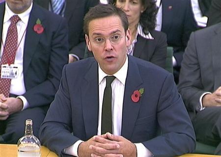 News Corp executive James Murdoch speaks to parliamentarians in London November 10, 2011.    REUTERS/Parbul TV via Reuters TV