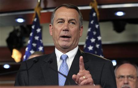 Speaker of the House John Boehner talks during a news conference to discuss the American Energy & Infrastructure Jobs Plan on Capitol Hill in Washington November 17, 2011. REUTERS/Kevin Lamarque