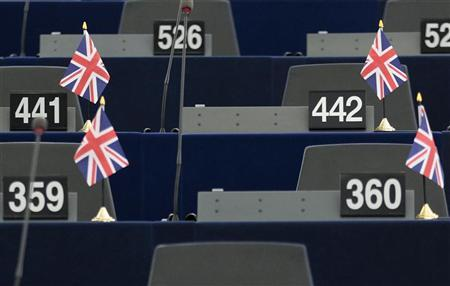 The seats of Britain's members of the European Parliament are seen ahead of a debate on the last EU summit at the European Parliament in Strasbourg, December 13, 2011.  REUTERS/Vincent Kessler
