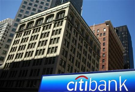 A Citibank logo is seen in the financial district of San Francisco, July 17, 2009.  REUTERS/Robert Galbraith