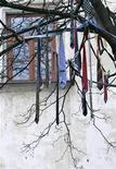 Галстуки висят на дереве, украшенном украинскими художниками во Львове, 6 января 2007 г. Чилийское правительство призвало жителей латиноамериканкой страны снять галстуки в рамках борьбы с глобальным изменением климата. REUTERS/Gleb Garanich