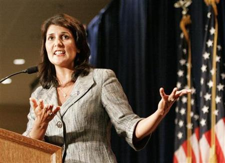 South Carolina's Governor Nikki Haley gestures as she address the RedState Gathering of conservative activists in Charleston, South Carolina, August 13, 2011. REUTERS/Mary Ann Chastain
