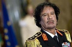 A file photo of former Libya's leader Muammar Gaddafi during a news conference at the Quirinale palace in Rome.   REUTERS/Max Rossi/Files