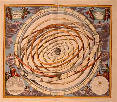 This image shows the Earth-centered model of the Universe developed by astronomer Claudius Ptolemy of Alexandria in the second century.