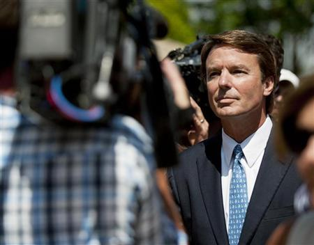 Former U.S. Democratic presidential hopeful and former U.S. Senator John Edwards departs the U.S. District Court after pleading not guilty to six federal charges in Winston-Salem, North Carolina, June 3, 2011.  REUTERS/Davis Turner
