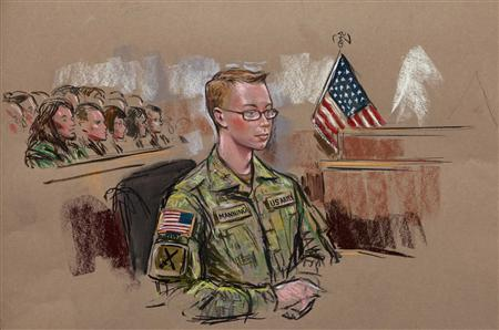 U.S. Army Private Bradley Manning is seen in a courtroom sketch during his Army Article 32 hearing in the courthouse at Fort Meade, Maryland, December 16, 2011. REUTERS/Bill Hennessy