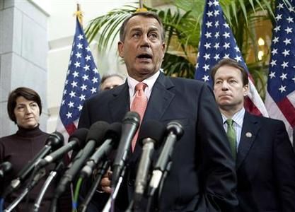 Speaker of the House John Boehner (R-OH) speaks with the media after a meeting on legislative business with fellow Republicans on Capitol Hill in Washington December 16, 2011.      REUTERS/Joshua Roberts