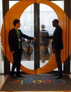 View of the entrance of the new headquarters of Google France before its official inauguration in Paris December 6, 2011.   REUTERS/Jacques Brinon/Pool