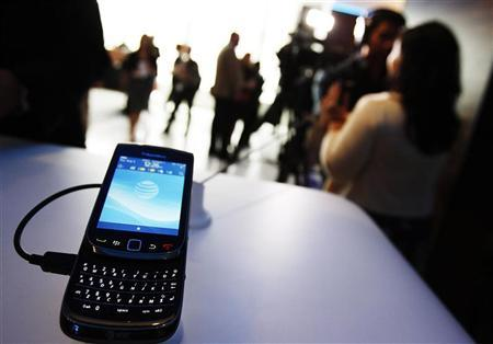 The new BlackBerry Torch 9800 smartphone is seen after it was introduced at a news conference in New York August 3, 2010. REUTERS/Shannon Stapleton