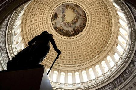 A statue stands in Capitol Rotunda on Capitol Hill in Washington July 31, 2011.   REUTERS/Joshua Roberts