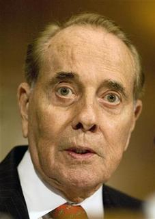 Former Senate Majority Leader Bob Dole speaks on behalf of former U.S. Sen. Tom Daschle (D-SD) at the Senate Health, Education, Labor and Pensions Committee hearing about Daschle's confirmation for Secretary of Health and Human Services on Capitol Hill in Washington, January 8, 2009.     REUTERS/Larry Downing