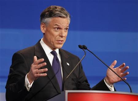 Republican presidential candidate former Utah governor Jon Huntsman speaks during the Republican Party presidential candidates debate in Sioux City, Iowa, December 15, 2011. REUTERS/Eric Gay/Pool