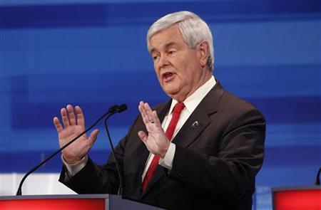 Republican presidential candidate, former U.S. Speaker of the House Newt Gingrich (R-GA), speaks during the Republican Party presidential candidates debate in Sioux City, Iowa, December 15, 2011. REUTERS/Jim Young