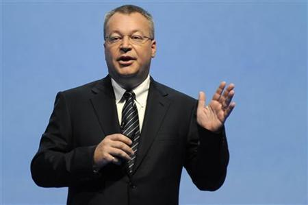 Nokia CEO Stephen Elop speaks at the Nokia World event in London October 26, 2011.  REUTERS/Paul Hackett
