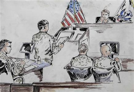 U.S. Army courtroom sketch released to Reuters shows a member of the prosecution team (2nd L), speaks during Army Article 32 hearing for Private Bradley Manning in the courthouse at Fort Meade, Maryland, December 16, 2011.   REUTERS-U.S. Marine Sgt. Sean P. Sales-U.S. Army-Handout