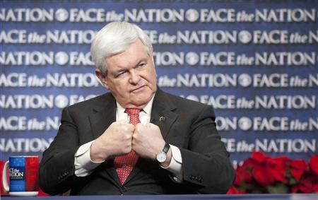U.S. Republican presidential candidate and former House Speaker Newt Gingrich gestures on CBS News' ''Face the Nation'' in Washington, December 18, 2011. REUTERS/Chris Usher/CBS News/Handout