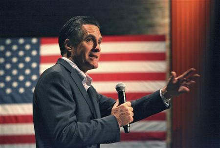 Republican U.S. presidential contender Mitt Romney addresses the crowd at a town hall meeting in Charleston, December 17, 2011.   REUTERS/Randall Hill
