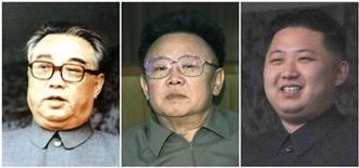 Коллаж из фотографий основателя КНДР Ким Ир Сена (слева), его сына-преемника Ким Чен Ира (в центре) и младшего сына последнего Ким Чен Ына. Не перешагнувший 30-летний рубеж и не имеющий большого опыта Ким Чен Ын назван преемником скончавшегося в субботу Ким Чен Ира и должен стать третьим представителем династии Кимов во главе северокорейского государства. Фотографии Reuters и Kyodo