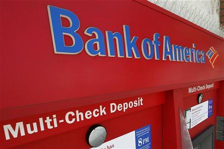 An ATM machine at a Bank of America office is pictured in Burbank, California August 19, 2011. Bank of America Corp plans to cut 3,500 jobs in the next few weeks as CEO Brian Moynihan tries to come to grips with the bank's $1 trillion pile of problem home mortgages.  REUTERS/Fred Prouser