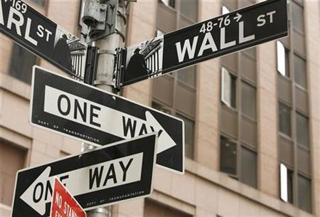 A Wall St. sign is seen in New York's financial district September 16, 2008. REUTERS/Lucas Jackson