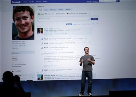 Facebook CEO Mark Zuckerberg delivers his keynote address at the Facebook f8 Developers Conference in San Francisco, California September 22, 2011.  REUTERS/Robert Galbraith