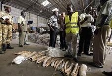 Kenyan customs officers and Kenya Wildlife Services officials inspect elephant tusks which were seized inside a warehouse at the port in the Kenyan coastal city of Mombasa, December 21, 2011.  REUTERS/Joseph Okanga