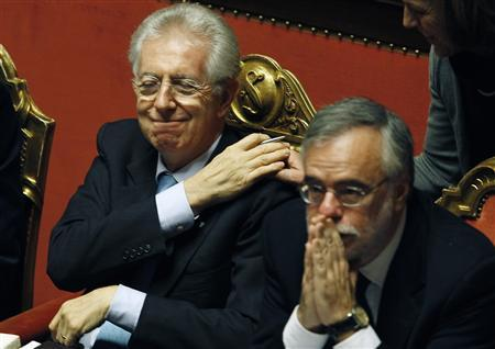Italian Prime Minister Mario Monti smiles as he attends a confidence vote in Rome December 22, 2011. REUTERS/Alessandro Bianchi