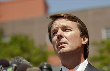 Former U.S. Democratic presidential hopeful and former U.S. Senator John Edwards makes a brief statement to the press outside of the U.S. District Court after pleading not guilty to six federal criminal felony charges in Winston-Salem, North Carolina, June 3, 2011. REUTERS/Davis Turner