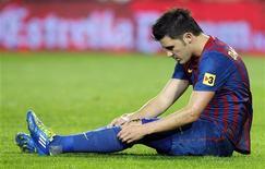 David Villa, do Barcelona, durante jogo da Liga Espanhola contra o Mallorca, em outubro. O atacante recebeu alta do hospital, cinco dias depois de uma operação na perna que o jogador fraturou durante o Mundial de Clubes neste mês, disse no sábado o campeão espanhol e europeu. 29/0/2011  REUTERS/Albert Gea