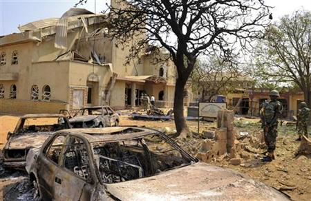 A view shows the scene of a bomb explosion at St. Theresa Catholic Church at Madalla, Suleja, just outside Nigeria's capital Abuja, December 25, 2011. REUTERS/Afolabi Sotunde