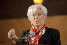 <p>International Monetary Fund's Managing Director Christine Lagarde addresses a roundtable discussion in Lagos, December 20, 2011. REUTERS/Stephen Jaffe-IMF/Handout</p>
