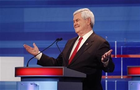 Republican presidential candidate Newt Gingrich (R-GA), gestures during the Republican Party presidential candidates debate in Sioux City, Iowa, December 15, 2011. REUTERS/Jim Young