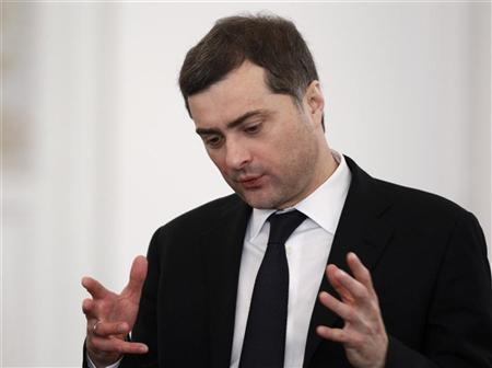 Top-level Kremlin advisor Vladislav Surkov speaks before Russia's President Dmitry Medvedev's last annual state of the nation address at the Kremlin in Moscow December 22, 2011.  REUTERS/Sergei Karpukhin