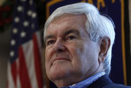 Republican presidential candidate and former Speaker of the House Newt Gingrich attends a campaign stop at the Dubuque Golf and Country Club in Dubuque, Iowa December 27, 2011.  REUTERS/Jim Young