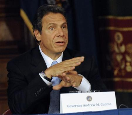New York Governor Andrew M. Cuomo speaks during a cabinet meeting in Albany, New York, October 12, 2011. REUTERS/Hans Pennink