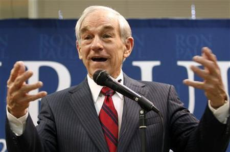 Republican presidential candidate and Representative Ron Paul (R-TX) speaks during a Town Hall Meeting at the Community Center in Le Mars, Iowa, December 30, 2011.    REUTERS/Jeff Haynes